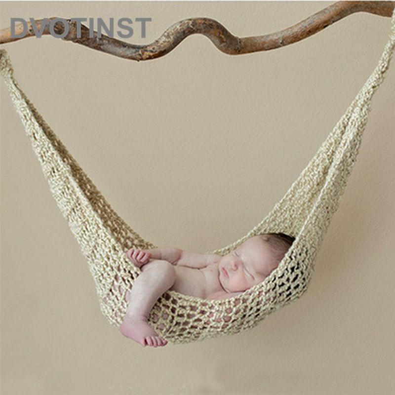 Dvotinst nouveau-né photographie accessoires Crochet tricoté bébé hamac Fotografia accessoires Bebe suspendu lit Studio pousses Photo Prop