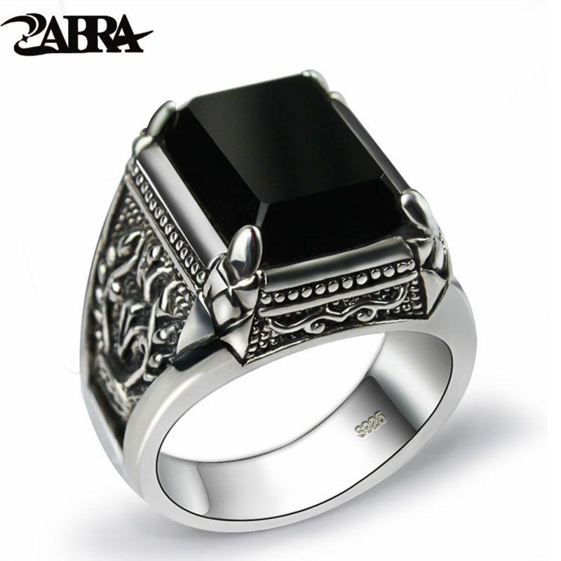 ZABRA Réel 925 Argent Noir Zircon Anneau Pour Hommes Femme Gravé Fleur Hommes De Mode Sterling Thai Argent Bijoux Synthétique Onyx