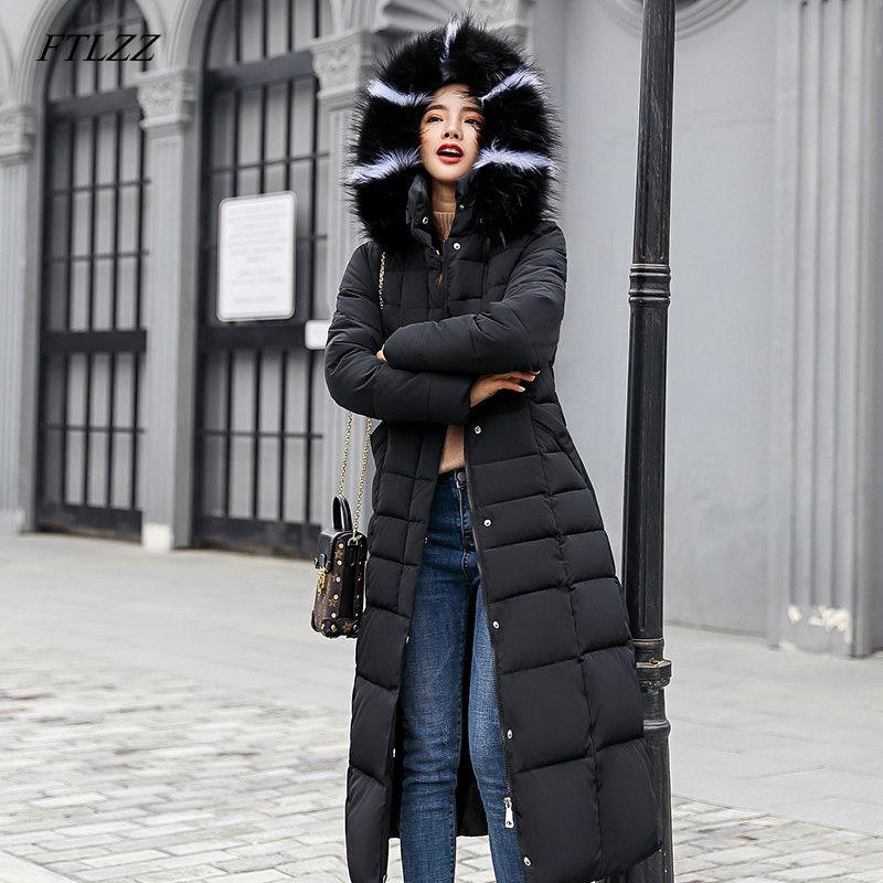 FTLZZ Women Long Cotton Parkas False Fur Collar Hooded Coat Winter Casual Slim Long Padded Jackets Wadded Snow Overcoat