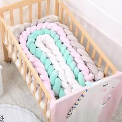 100CM 200CM Newborn Baby Bed Bumper Infant Room Decor Crib Protector Pacification Toy Pure Color Weaving Knot for Kids Bedding
