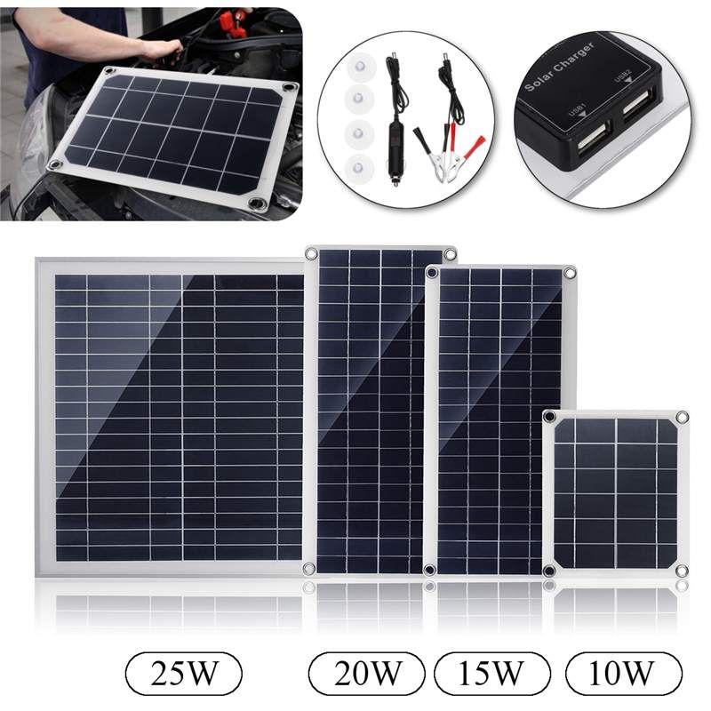 Doppel USB interface10/15/20/25 watt 12 v/5 v Polysilizium silizium zelle solar panel für Batterie Handy Ladegeräte Zigarette Leichter