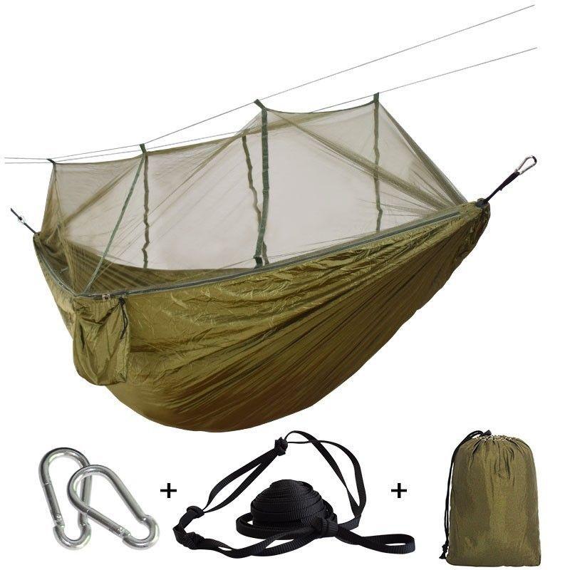 De Voyage ultra-léger Hamac Avec Moustiquaire Intégrée Portative Durable Hamak Chaise Suspendue Rede Respirant Accrocher Lit