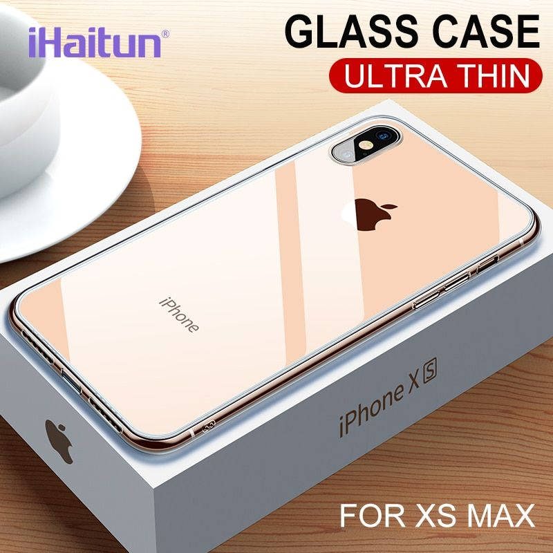 iHaitun Luxury Glass Case For iPhone XS MAX XR X Cases Ultra Thin Transparent Back Glass Cover For iPhone XS MAX 7 8 X Soft Edge