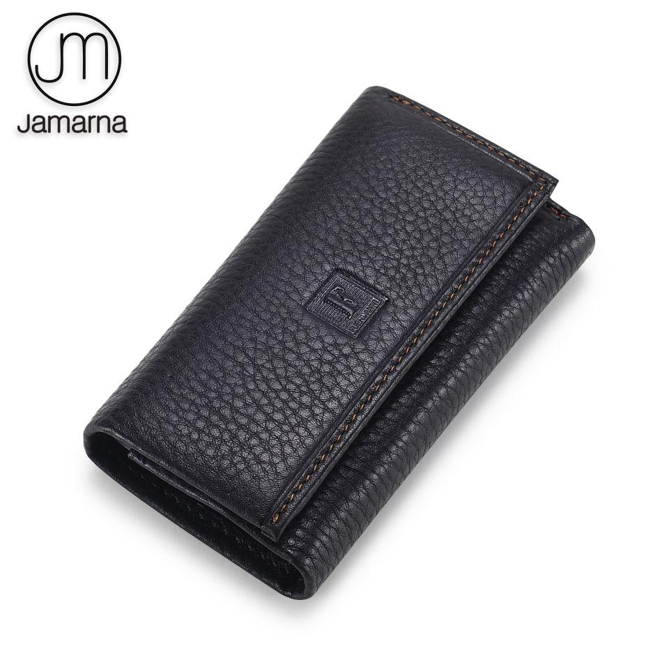 Jamarna ménagère porte-clé en cuir véritable pour hommes femmes porte-clé mince noir couleur café en cuir souple de haute qualité