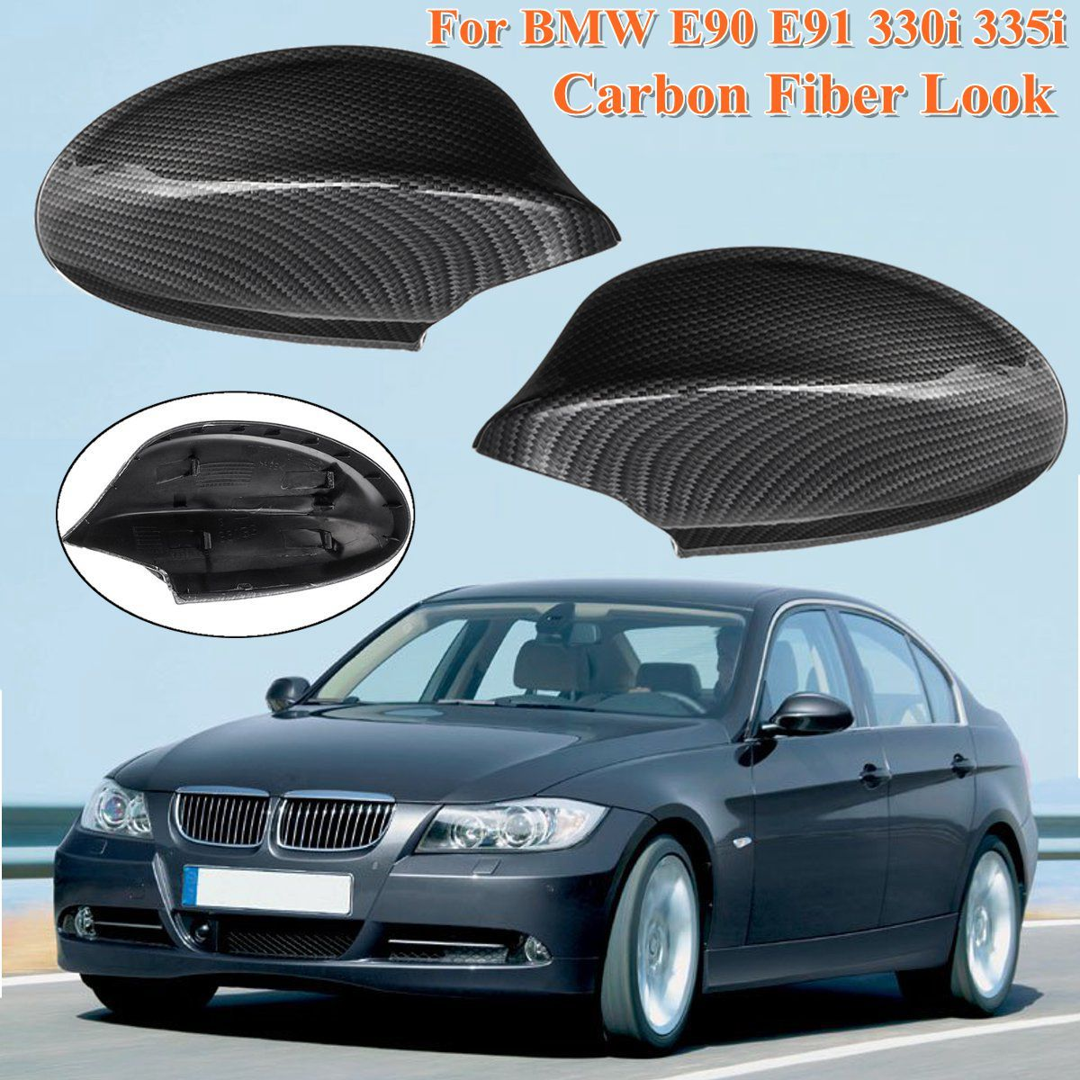 For BMW E90 E91 330i 335i 2005 2006 2007 51167135097 Car ABS Black Carbon Fiber Pattern Rear View Rearview Side Mirror Cover Cap