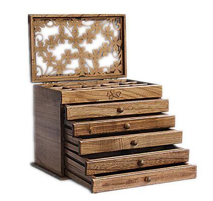 Boîte à bijoux en bois véritable trèfle style rétro grand multicouche mariage vacances cadeau maquillage organisateur boîte de rangement 31*20*25 CM