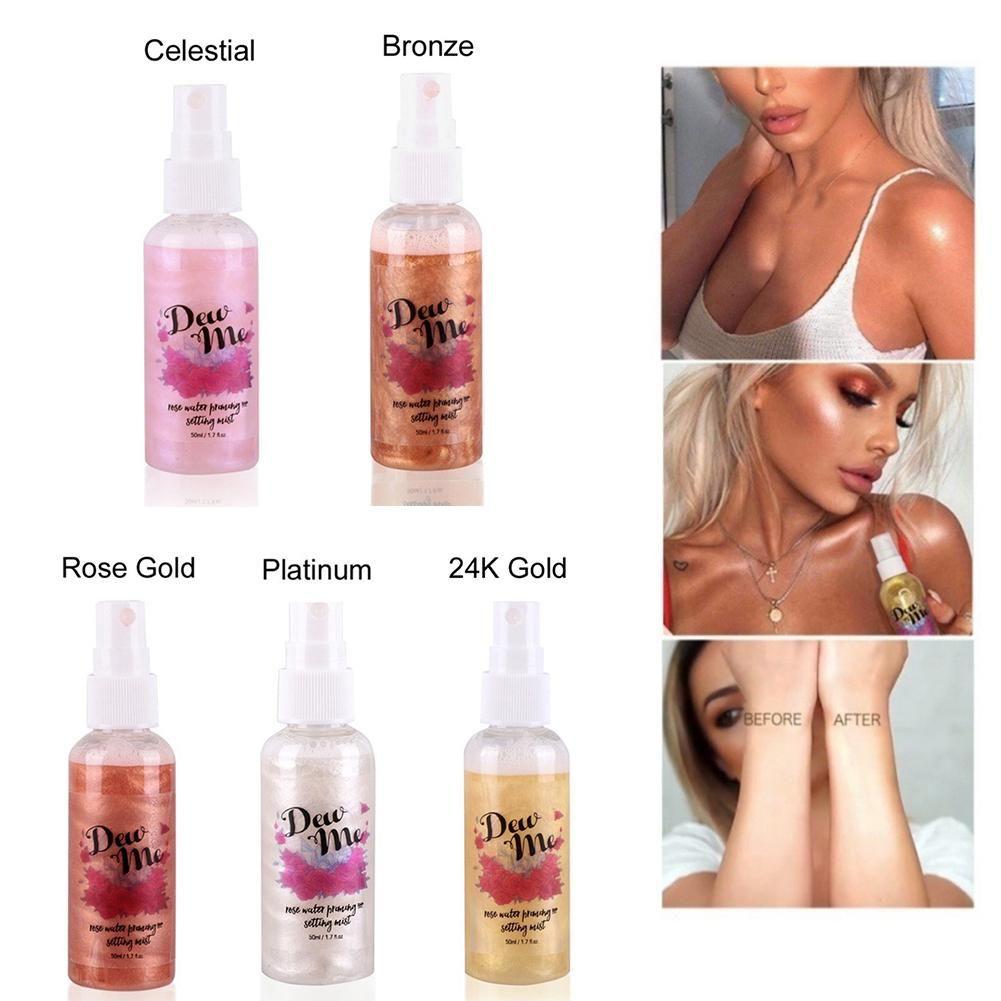 Bronzer Highlighter Flüssigkeit Einstellung Spray Beleuchtung Gesicht Shimmer langlebige Erhellen Glow Rose Gold Highlight Make-Up