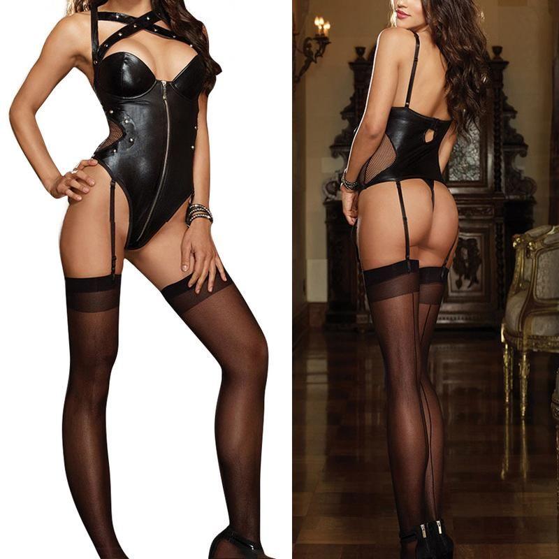 Sexy sous-vêtements en cuir noir Latex Rivet Lingerie avant fermeture éclair serré combinaison pour les femmes