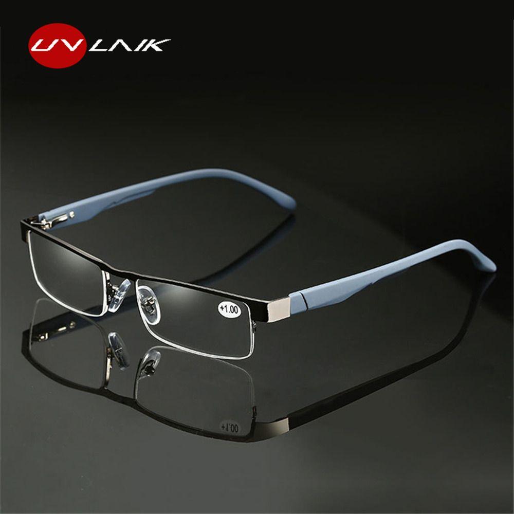 UVLAIK Alloy Reading Glasses Men High Quality Business Eyeglasses Hyperopia Prescription glasses +1.0 1.5 2.0 2.5 3.0 3.5 4.0