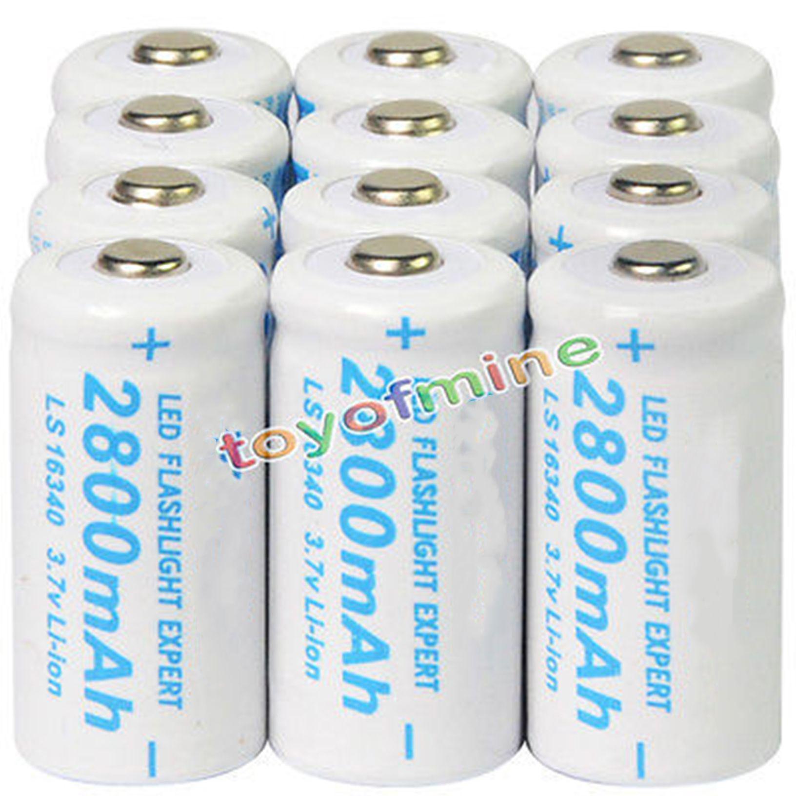 Lot de 2 50 pcs 2800 mAh CR123A 123A CR123 16340 3.7 V batterie Rechargeable Li-Ion pour torche