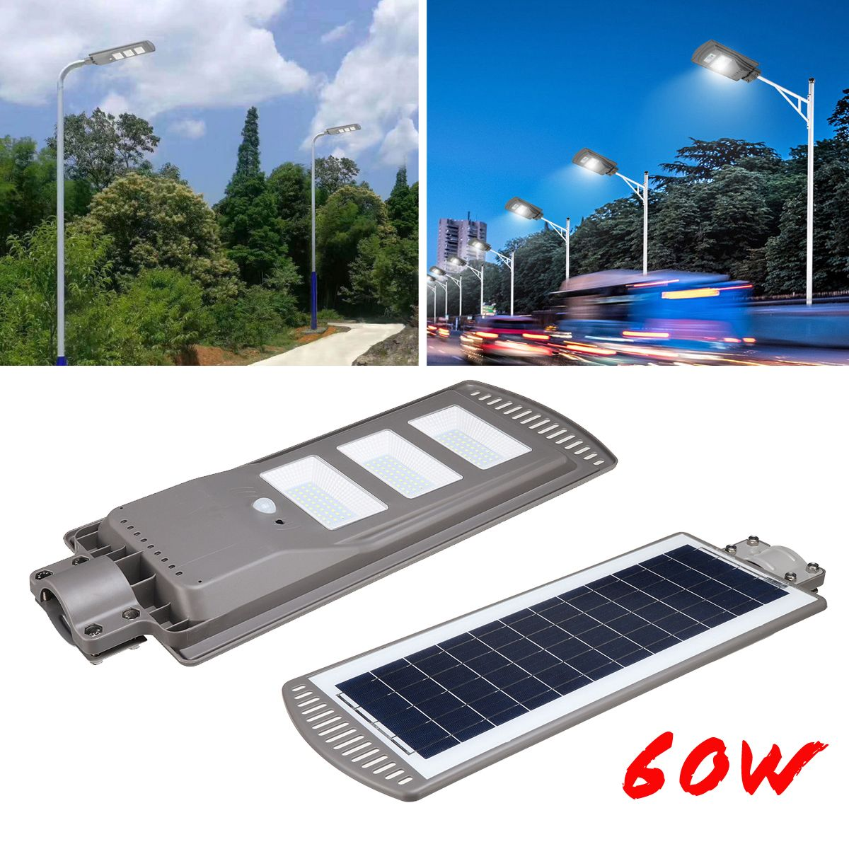 1PC 60W Solar Powered Panel LED Solar Street Light All-in-1 Time Switch Waterproof IP67 Wall Lighting Lamp for Outdoor Garden