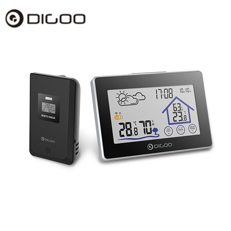 Digoo DG-TH8380 TH8380 Wireless Touch Screen Thermometer Hygrometer Weather Station Thermometer Outdoor Forecast Sensor Clock