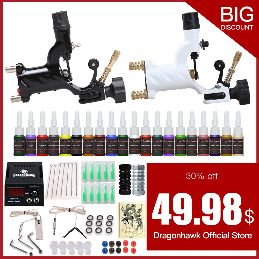 Beginner Tattoo <font><b>Starter</b></font> Kits 2 Rotary Tattoo Machines Guns 20 Ink Sets Power Supply Needles Top Tattoo Ink Free Shipping