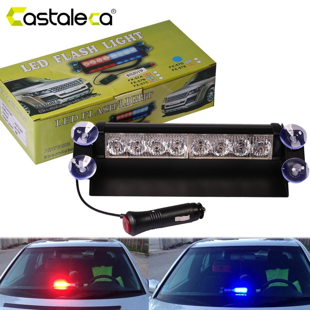 castaleca Car Led Emergency Strobe <font><b>Flash</b></font> Warning Light 12V 8 Led Flashing Lights Red Blue White Green Police lights Car styling