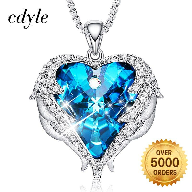 Cdyle Love Necklace For Women Pendant Necklace Crystals from Swarovski Heart Necklace Women Angel Wings Mothers Day Gift