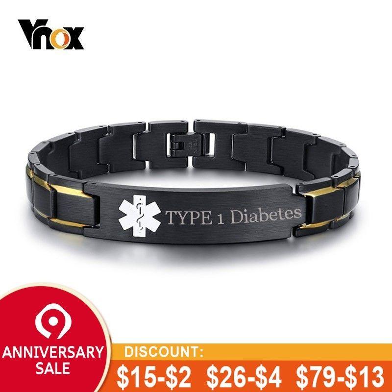 Vnox TYP 1 Diabetes Medical Alert ID Armbänder für Männer Anpassen Kostenloser Gravur Krankheit Name EIS Notfall Erinnerung Schmuck