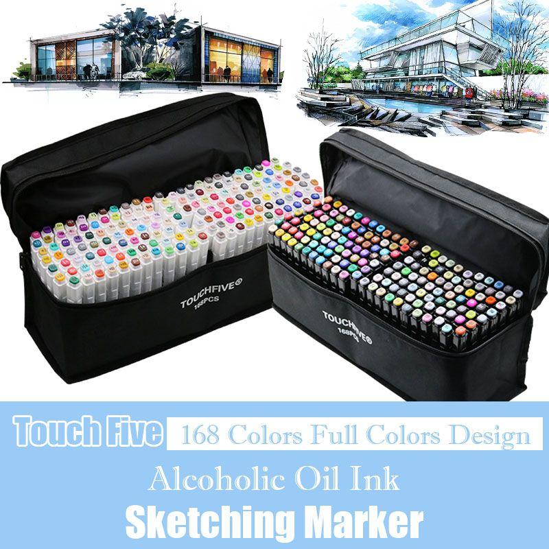 TouchFIVE 168 couleurs marqueurs d'art à base d'alcool huileux ensemble marqueur de croquis à double tête stylo pinceau d'artiste pour les fournitures d'art de conception Manga