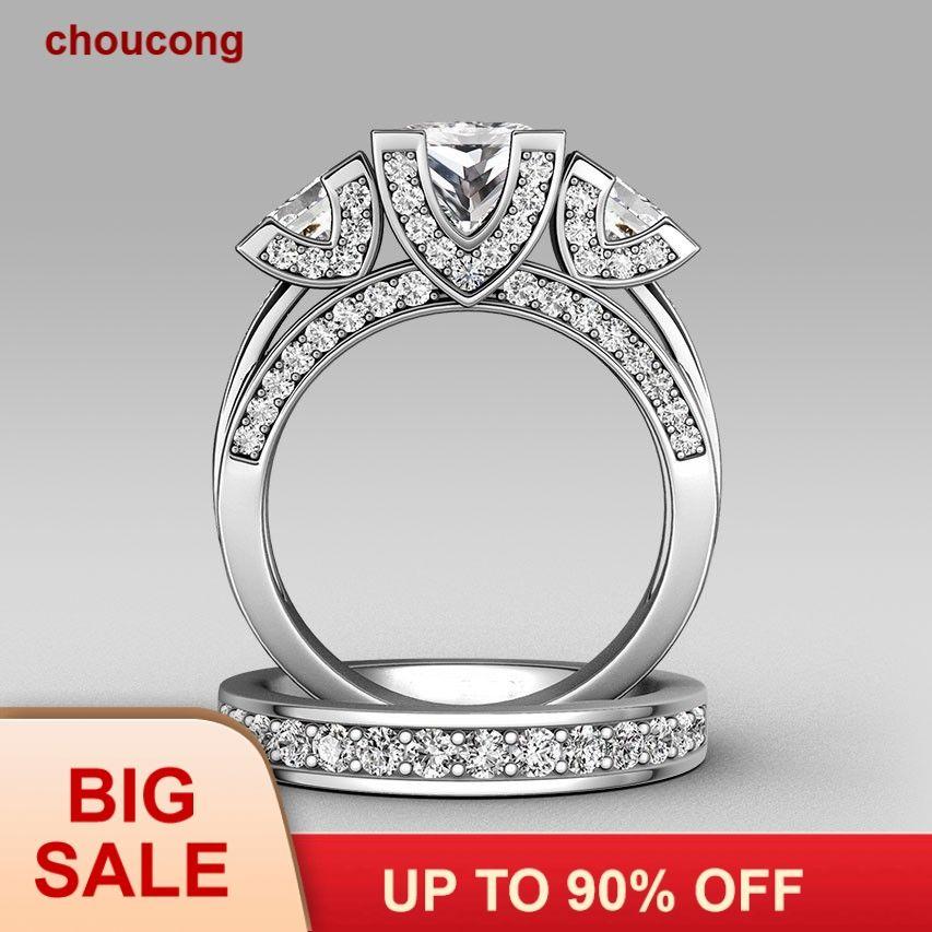 Choucong princesse taille trois pierres 8ct pierre 5A Zircon pierre 925 argent Sterling femmes fiançailles bague de mariage ensemble