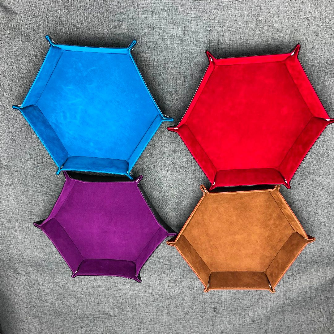 1Pc PU Leather Folding Hexagon Dice Tray Purple Dice Box For RPG DnD Games Dice Storage High Quality