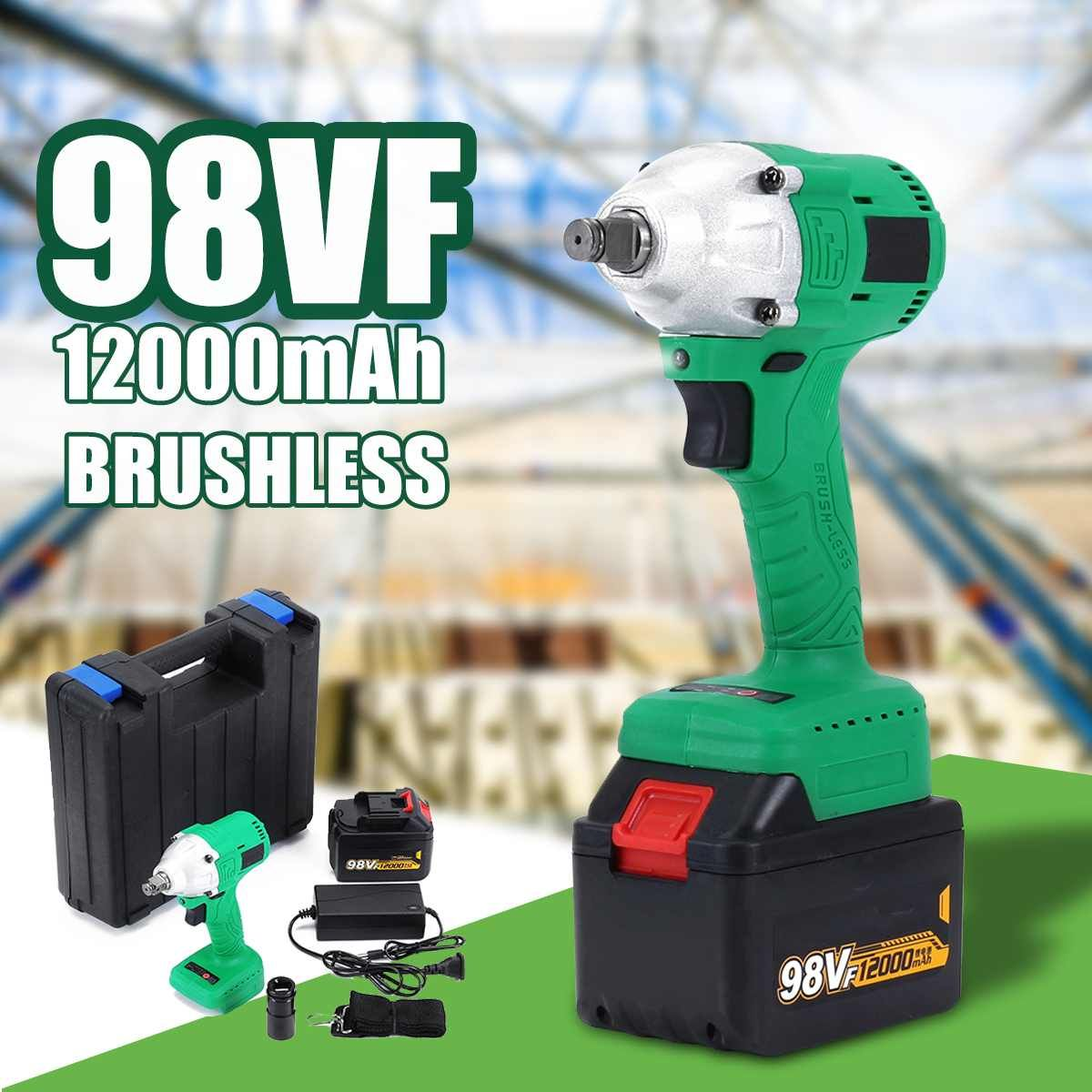 460Nm 98VF Cordless High Speed Impact Wrench 12000mAh Lithium Battery Rechargable Brushless Electric Impact Wrench Power Tool