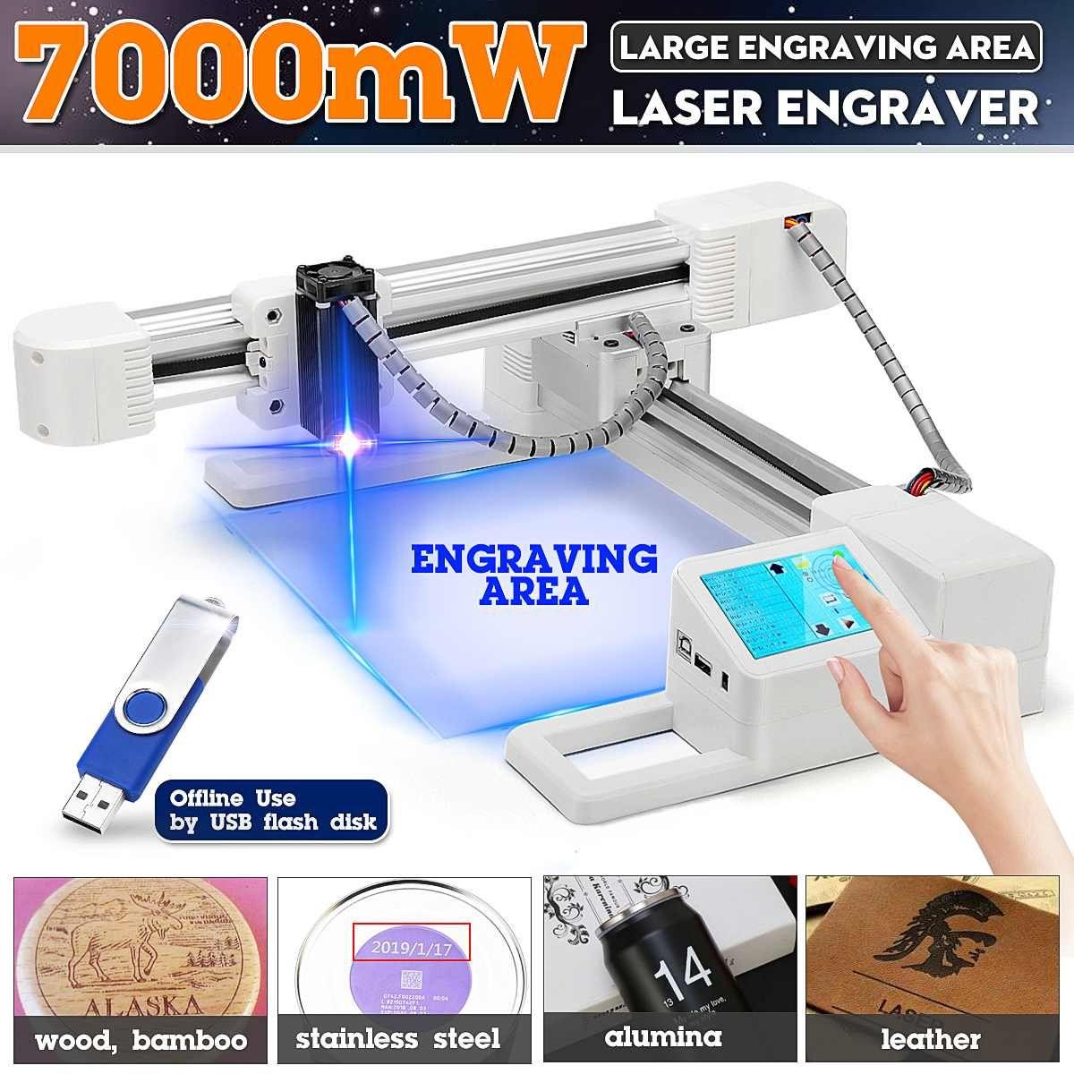 Große Gravur Bereich 7000 mW Professionelle Laser Gravur Maschine Stecher Logo Drucker Cutter + Einfache spezifikation