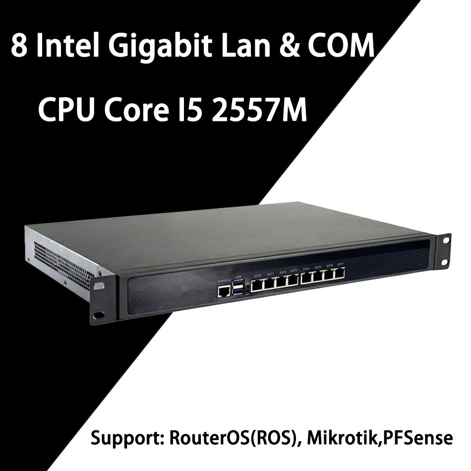 Firewall Mikrotik Pfsense VPN Netzwerk Security Appliance Router PC Intel Core I5 2557 M, [HUNSN RS14], (8Lan/2USB3. 0/1COM/1VGA)