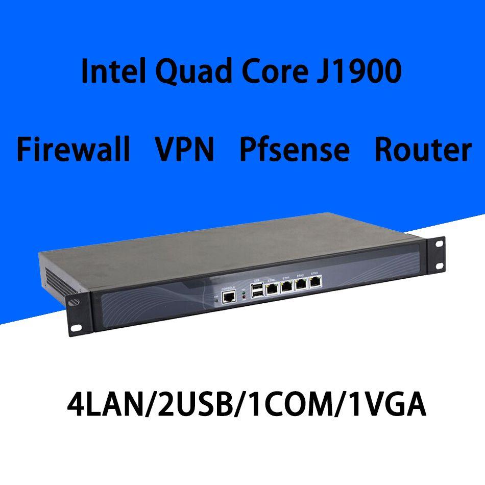 Firewall Mikrotik Pfsense VPN Netzwerk Security Appliance Router PC Intel Quad Core COM J1900, [HUNSN RS18], (4LAN/2USB/1COM/1VGA)