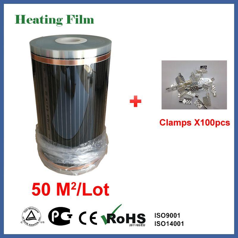 Infrarot heizung boden film 50 quadratmetern, 220 V elektrische heizung boden film mit Schellen 100 stück