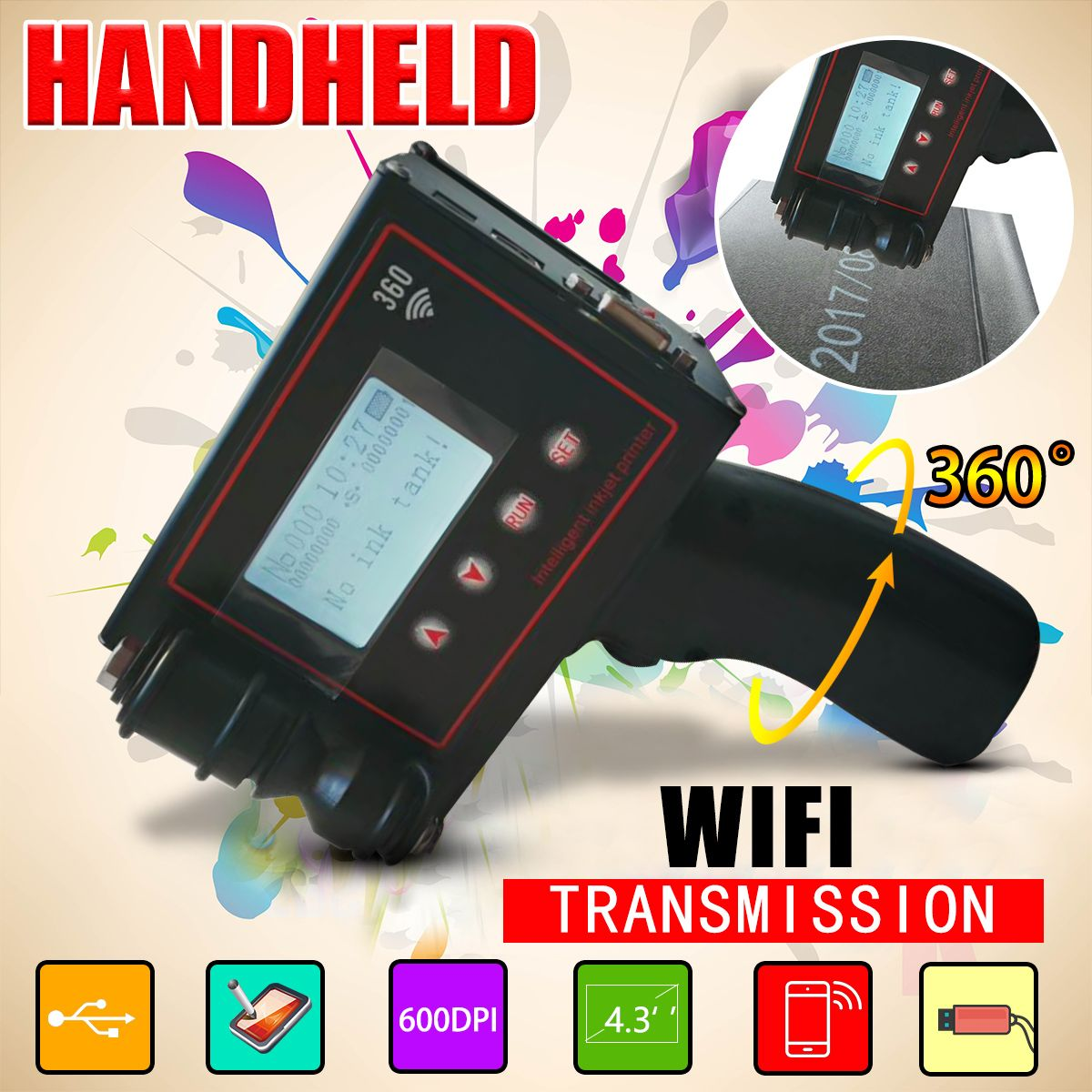 4.3Touch Screen 600DPI Handheld Intelligent QR Inkjet Printer USB 360T Ink Date Coder Coding machine+Quickdrying ink cartridge