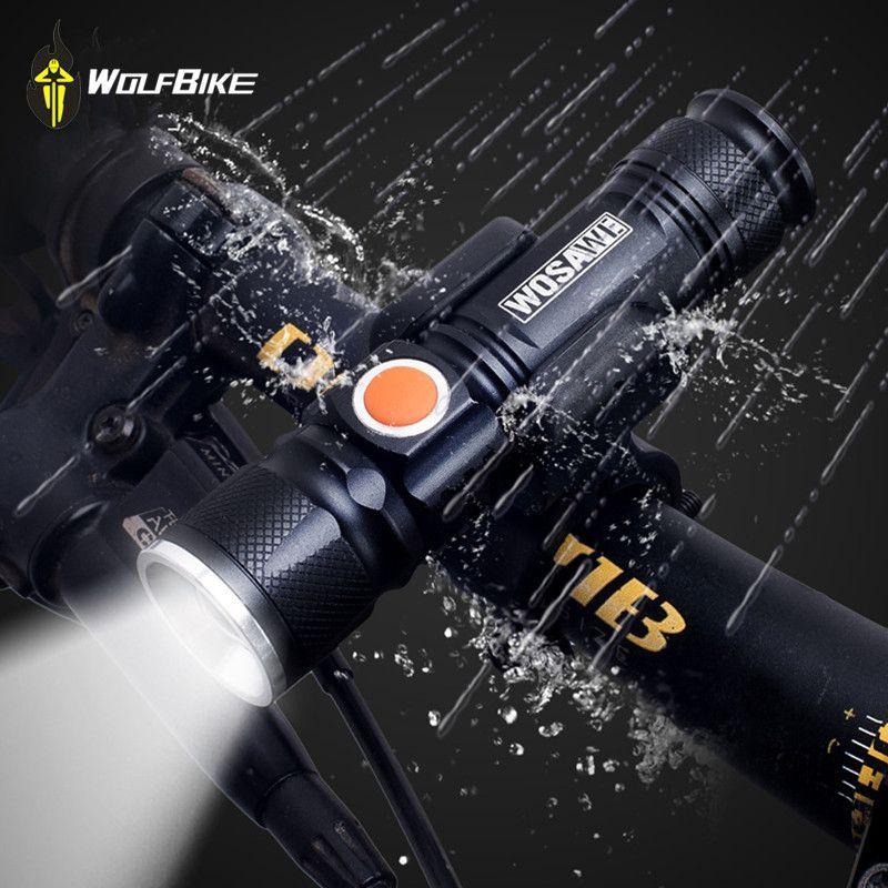 WOSAWE Vélo MINI flash guidon lumières de vélo avec batterie T6 LED 2000 lumen lampe perles portable étanche trois modes lumières