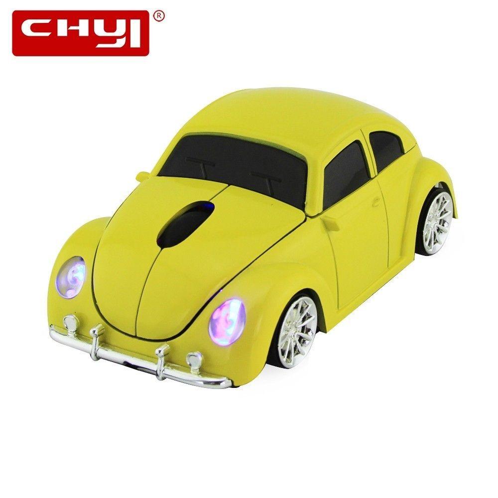 CHYI voiture forme sans fil souris Beetle voiture modèle ordinateur optique USB Mause 1600 DPI 2.4G Mini souris pour cadeau PC ordinateur portable bureau