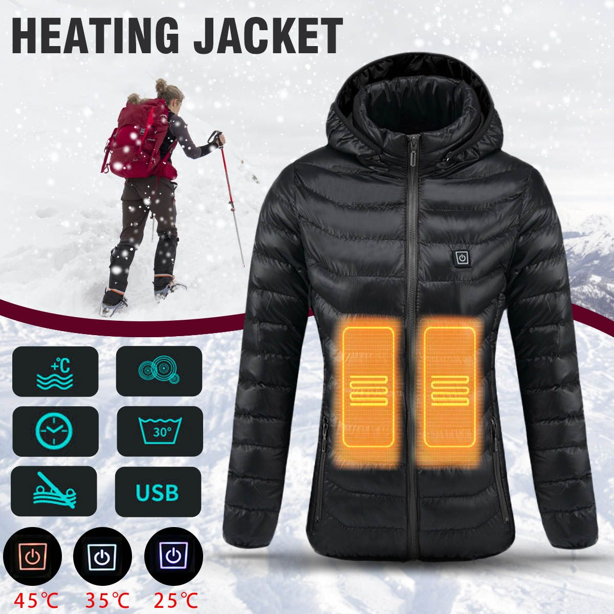 Women Heated Safety Jacket Winter Thermal Warm Hooded Heating Clothing USB Constant Temperature Waterproof Coat