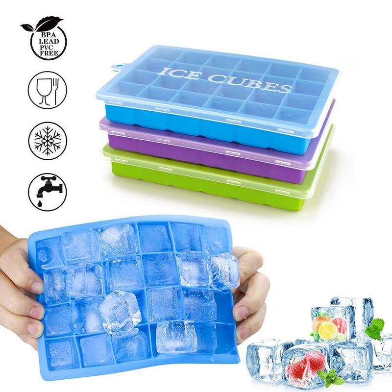 Neueste Silikon Ice Cube Mold Grid Form mit Deckel Eis Tablett für Haushalts Kühlschrank Essen 24-platz Ice Box # CO