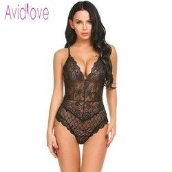 Avidlove Neue Dame Dessous Sexy Hot Erotic Teddy Body Frauen Spitze Spaghetti Strap Chemise Unterwäsche Langeri Porno Sex Kostüme