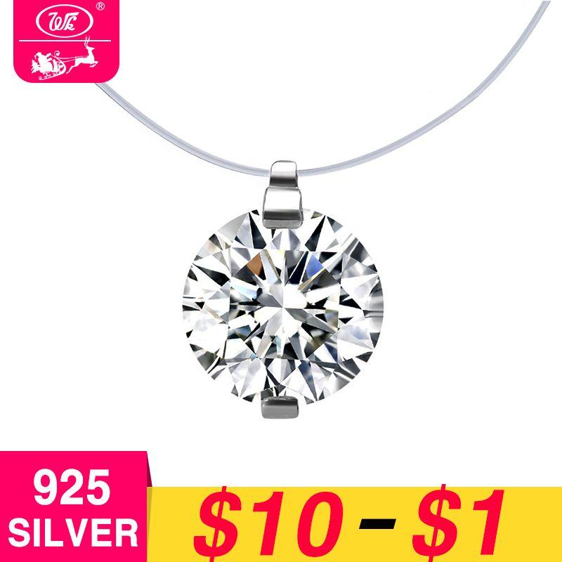 WK Transparent Linie Unsichtbare Kette Halskette Mit 8mm 5A Zirkonia Kristall 925 Sterling Silber Verschluss Anti Allergie W4 NB044