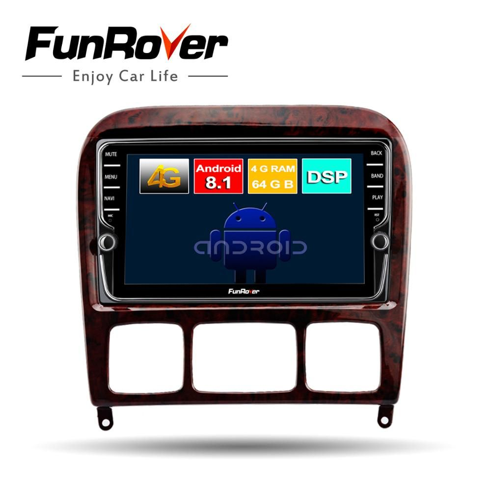 Funrover 2 din Android 8.1 auto dvd multimedia player gps Für Mercedes Benz S Klasse S280 S320 S350 S400 S500 W220 w215 DSP 4G RAM