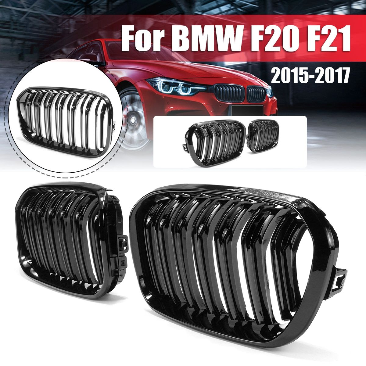 For BMW F20 F21 1 Series 2015 2016 2017 Pair Gloss Matt Black Double Slat Line M Color Front Racing Grill Kidney Grill Grille