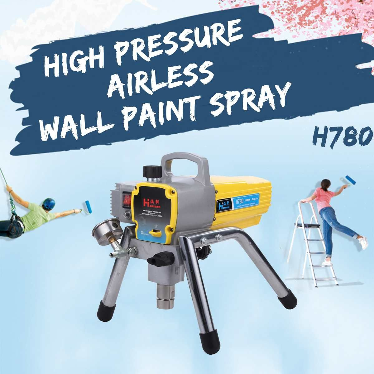 H780 1800W Motor 2.8L Profesional Electric Airless Paint Sprayer Painting Machine with Spray gun high pressure pipe