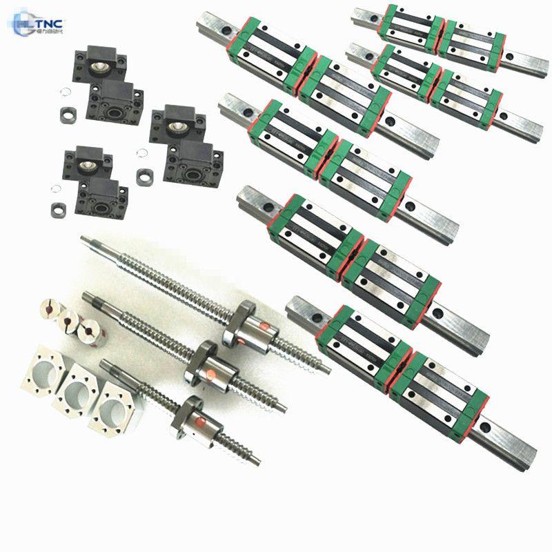 HGR20-1500/2500/2500 Platz Lineare guide + 3 xSFU2005/2004-1550/2550/2550 Kugelumlaufspindel sets + BK BF12 + 3 jaw Flexible Kupplung