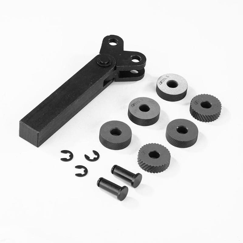 Kit d'outils de moletage à deux roues 7 pièces 0.5mm 1mm 2mm ensemble d'outils de moletage de roue à pas linéaire