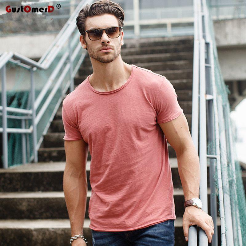 100% coton t-shirt décontracté doux Fitness chemise hommes T shirt hauts t-shirts O cou à manches courtes t-shirt hommes