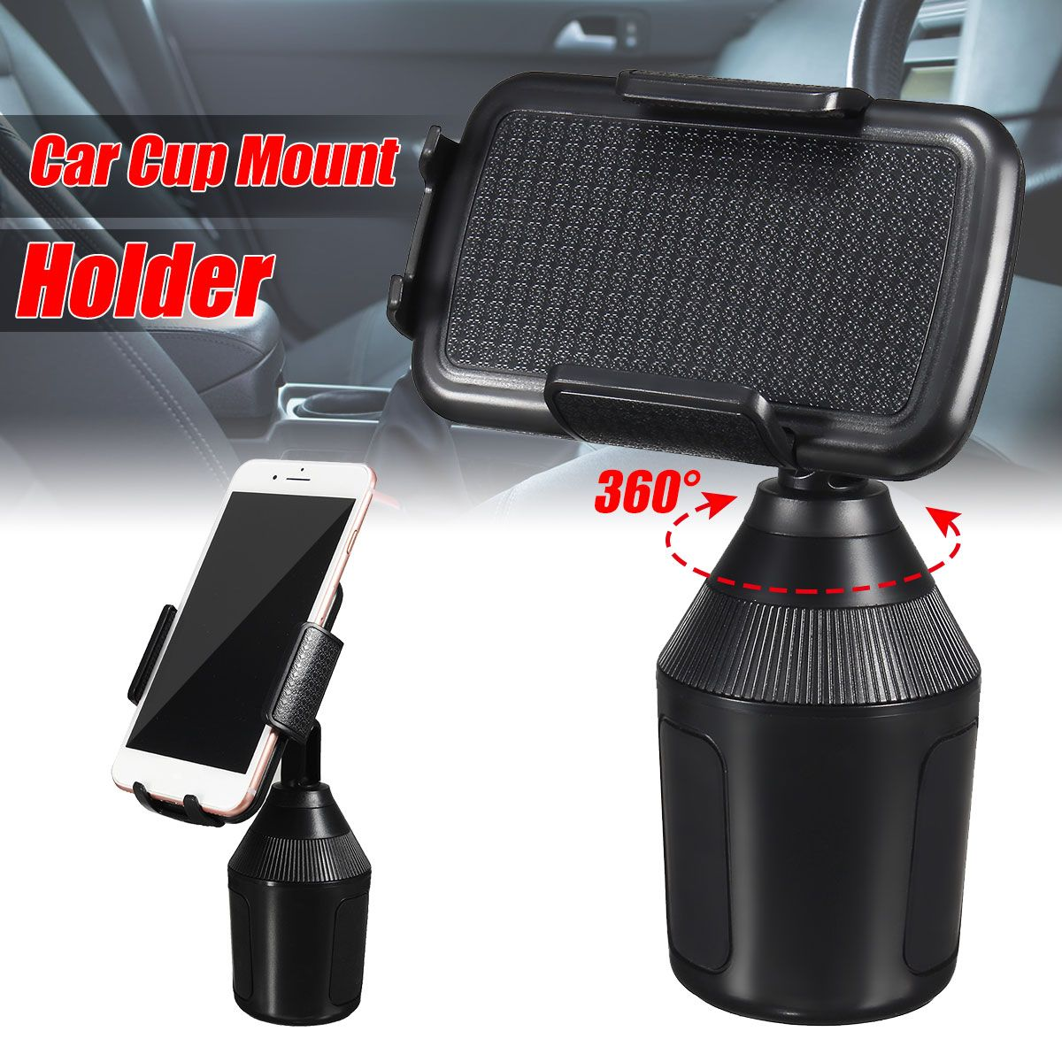 Cell Phone GPS Portable Stand Holder 360 Adjustable Mobile Phone Car Cup Holder Stand Cradle Mount Clip For iPhone For UMI23