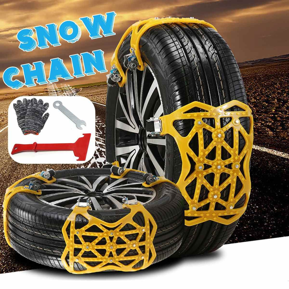 6pcs Thicker Anti-skid TPU Snow Chains Universal Car Suit Tyre General Automobile Tire For SUV Off-road Safety Chains Snow Mud