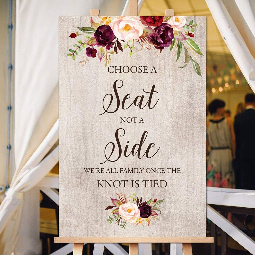 Choose a Seat not a Side Sign Pick a Seat Ceremony Sign Welcome Wedding Sign Wedding Welcome Signs Printable
