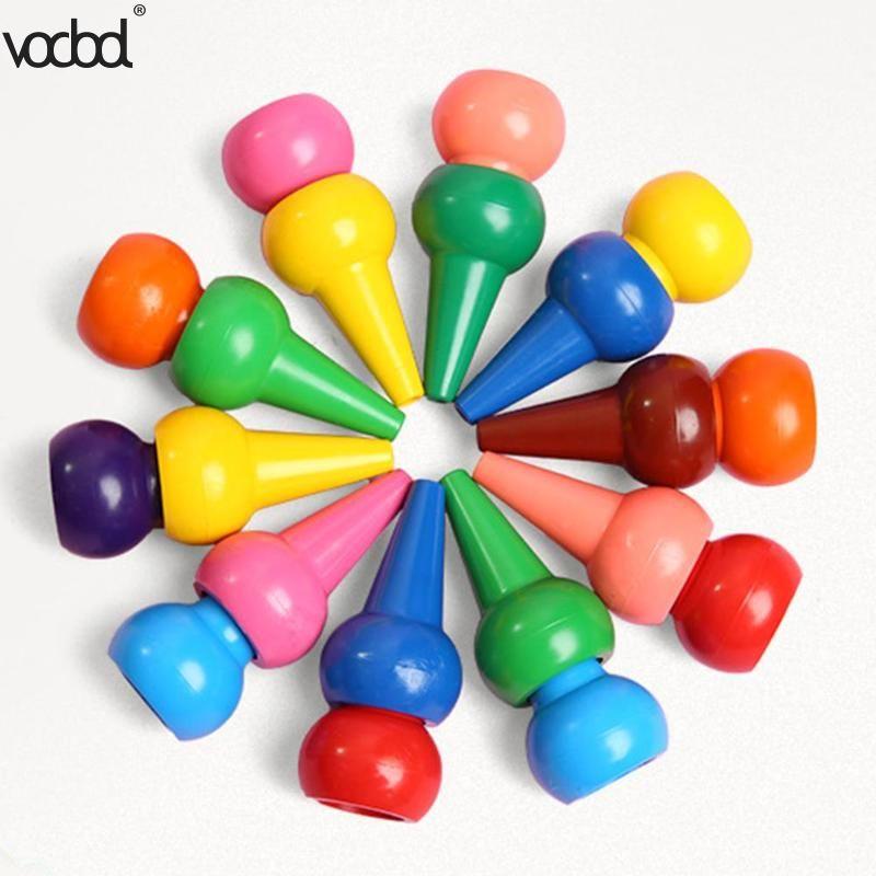 12 pièces Non toxique enfant peinture Crayon enfants sécurité couleur Crayon bébé 3D doigt Art fournitures maternelle école papeterie nouveau