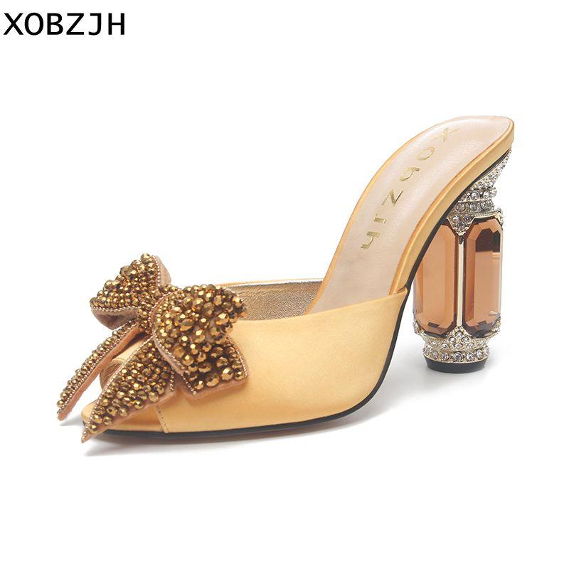 2019 XOBZJH Neue Manuelle Strass Offene spitze Hochzeit Schuhe Frauen Sommer Luxus Party Slip Auf Gelb Hohe Ferse Sandalen Plus größe