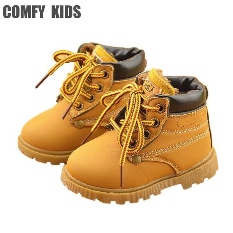 Confortable enfants d'hiver De Mode Enfant Bottes de Neige En Cuir Pour Filles Garçons Chaud Martin Bottes Chaussures Casual En Peluche Bébé Enfant En Bas Âge chaussures