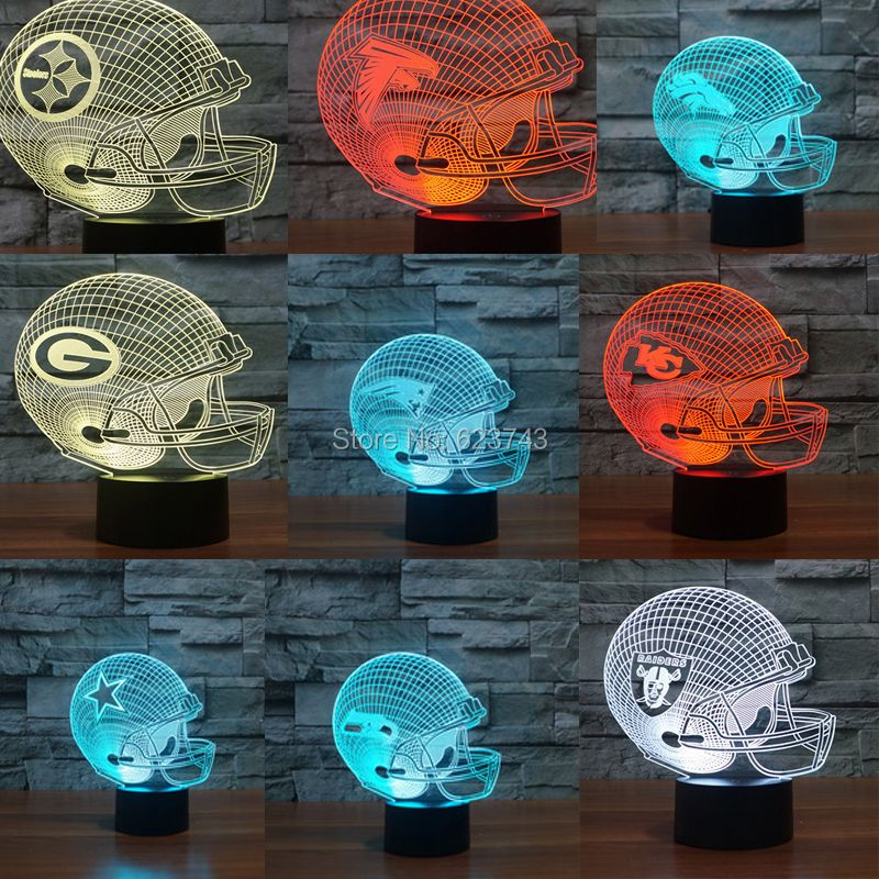Football américain cap casque 3D LED Changement de Couleur night light de Tous Les Clubs par Tactile induction contrôle et AAA