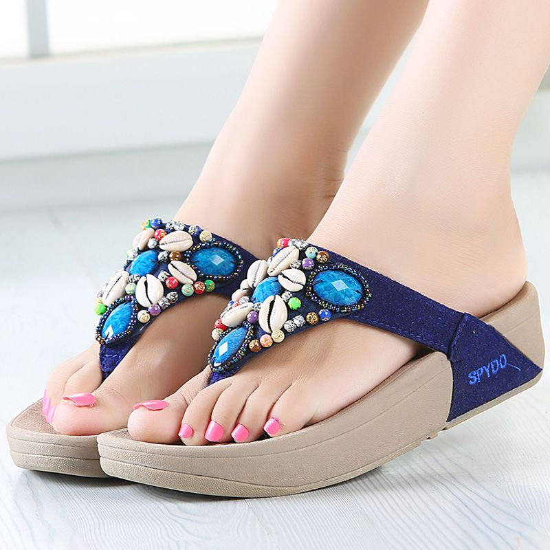 Mode plus récent strass Shell perles femmes plage tongs bohème sandales pantoufle plate-forme Wedge tongs chaussures femme