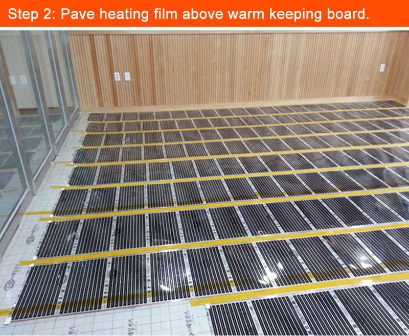 88 quadratmeter heizung film mit 9 thermostate und andere zubehör für niederlande client